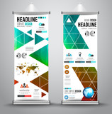 Advertisement roll up business flyer or brochure banner with vertical design