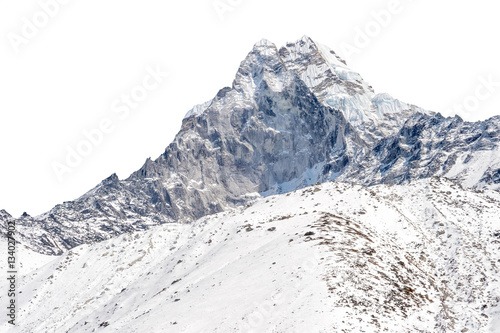 Snowy peak isolated over white background (Ama Dablam in the Everest region Poster