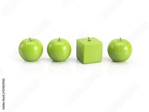 Anders sein, Individualität, Einzigartigkeit, Persönlichkeit – grüne Äpfel in einer Reihe - 134029562