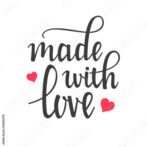 Póster Hecho con Love Hand Lettering Calligraphy