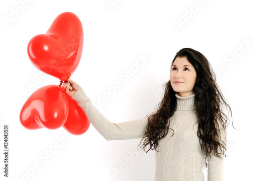 Poster pretty girl with red balloons