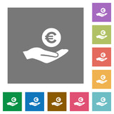 Euro earnings square flat icons