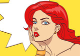 Fototapety Very beautiful colorful cartoon woman in pop art style. Many layers vector for your convenience eps 10.