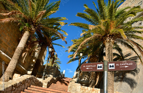 Stair steps to the castle in the old town of Peniscola, Costa del Azahar, province of Castellon, Valencian Community. Peniscola is a popular tourist destination in Spain