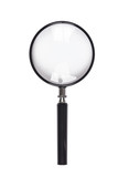 Vertical image of a magnifying glass isolated on white background