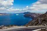 Widok na Morze Egejskie z wyspy Santorini, Thira, Grecja