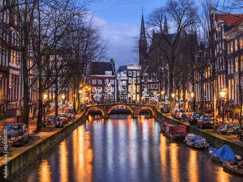 Amsterdam canal Leidsegracht and bridge in the evening Poster