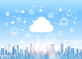 Fototapety Cloud Computing Technology Device Internet Data Information Storage City Skyscraper View Cityscape Background Vector Illustration