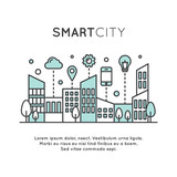 Vector Icon Style Illustration of Smart City Concept and Technology, One Page Web or Mobile Template Composition with Cloud, Buildings, Devices and Smart Solutions - 134058732