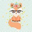 Fox in glasses in floral wreath - 134064548