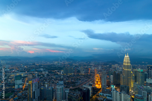 Poster Kuala Lumpur City During Twilight Aerial View
