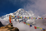 Annapurna I (8,091m) with prayer flag from Annapurna base camp ,Nepal.