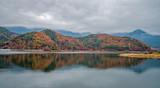 Autumn colour hill at lake Kawaguchiko, Japan.