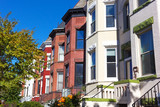 Historic row houses in Washington DC neighborhood around Halloween time. Urban residential architecture of US capital in fall. - 134078338