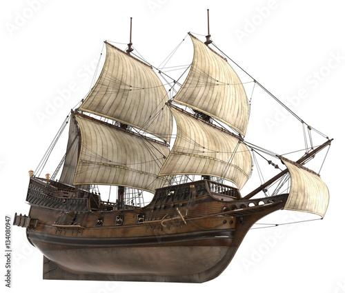 Sailboat 3D Illustration Isolated On White
