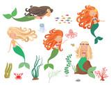 Sea  Mermaids And Sea Animals   Wall Sticker