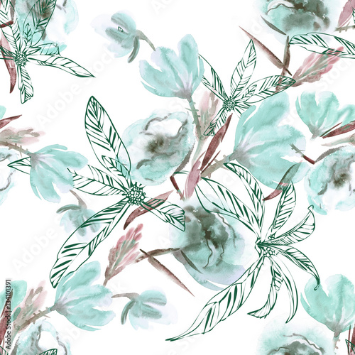 Flowers Seamless Pattern. Watercolor Background. - 134101391