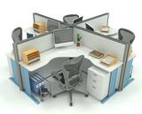 Uffici box isolati su bianco