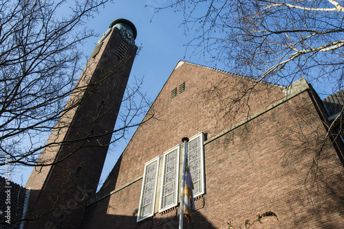 Poster Facade of the Willem de Zwijgerkerk in Amsterdam south - Holland - The Netherlan