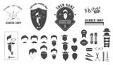 Set of  barber shop emblems, label, logo badges and designed elements. Vector monochrome set of hairstyles, beards and mustaches