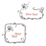 Hand drawn doodle floral frames with stylized flowers