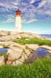 Early morning at Lighthouse at Peggy's Cove, Nova Scotia, Canada