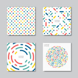 Set of abstract backgrounds. Flat circles dots vector pattern. Card, cover tag, poster, flyer banner design..