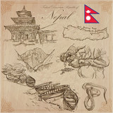 Nepal - Pictures of life. Travel pack. Vector collection. Hand drawings. Set of freehand sketches. - 134145749