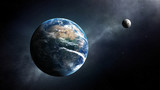 Earth and moon space view