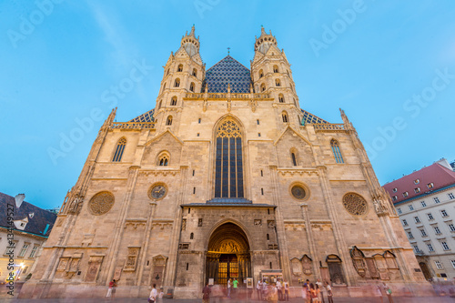 Poster St. Stephan cathedral in Vienna at twilight