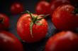 Quadro Fresh cherry tomatoes on black background