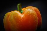 Macro shot of fresh pepper on black background