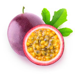 Isolated passionfruits. One whole passion fruit (maracuya) and a slice isolated on white background with clipping path
