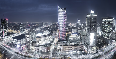 Warsaw,Poland October 2016:Warsaw city with skyscrapers at night © Mike Mareen