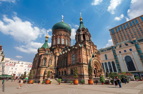 Poster famous harbin sophia cathedral in blue sky from square