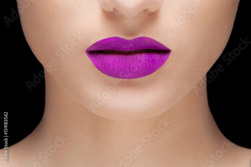 woman purple lips Poster