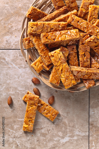 Poster Crispy cookies with honey and almonds