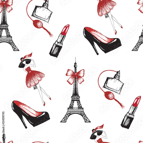 Materiał do szycia French style seamless pattern vector illustration