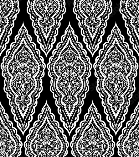 Beautiful vector damask seamless pattern. Vintage abstract background. Mandala style. Repeat  ornament for print, textile, fabric, texture, wrapping paper, cover. Black and white design. - 134207155