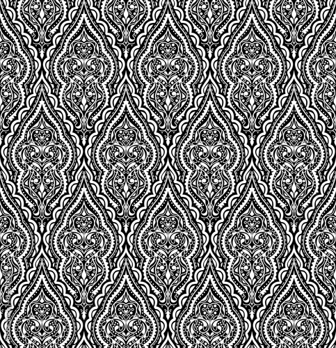 Beautiful vector damask seamless pattern. Vintage abstract background. Mandala style. Repeat  ornament for print, textile, fabric, texture, wrapping paper, cover. Black and white design. - 134207158