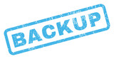 Backup text rubber seal stamp watermark. Caption inside rectangular banner with grunge design and dust texture. Inclined vector blue ink emblem on a white background.