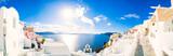 Panorama Oia wioska z kolorowymi domami, widok Oia miasteczko, Santorini wyspa, Grecja