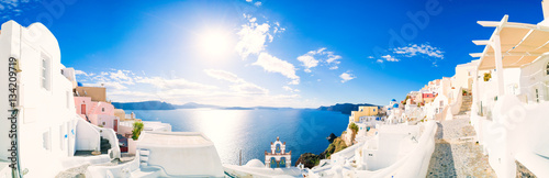 Fotobehang Santorini Panorama of Oia village with colorful houses , view of Oia town, Santorini island, Greece