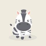 Vector cartoon character of little funny zebra.