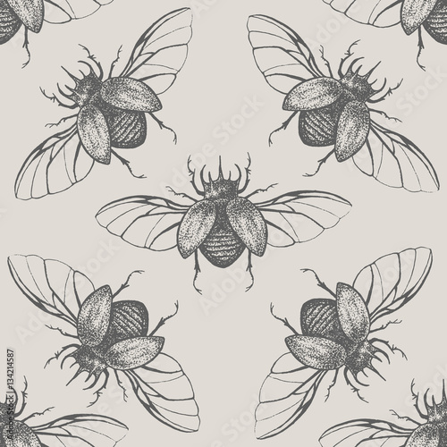 Materiał do szycia Beetles with wings vintage seamless pattern
