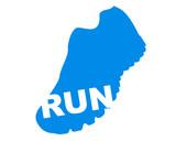 blue running shoe with white run written