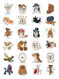 Dog Breed Icon Sticker Set