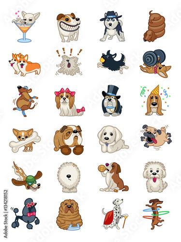 Dog Breed Icon Sticker Set