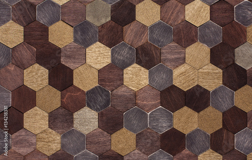 Fototapeta surface of wooden hexagons