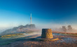 Transmitting Station at the Top of Hill in Morning Mist and Sunrise